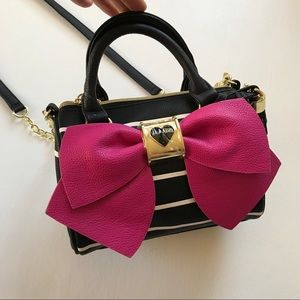 Betsey Johnson Black & White Striped Pink Bow Bag